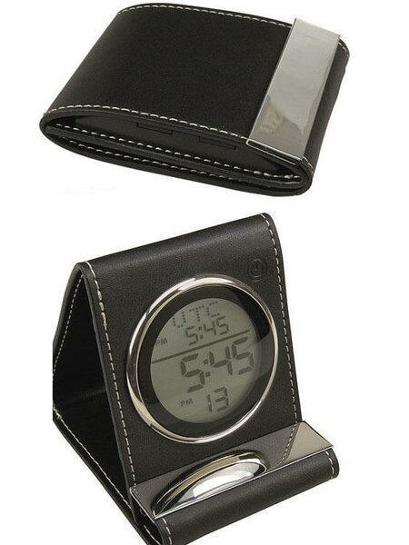 Leather Travel Alarm Desktop Clock by Charlton Home