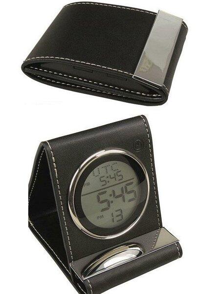 Leather Travel Alarm Desktop Clock by Charlton HomeLeather Travel Alarm Desktop Clock by Charlton Home
