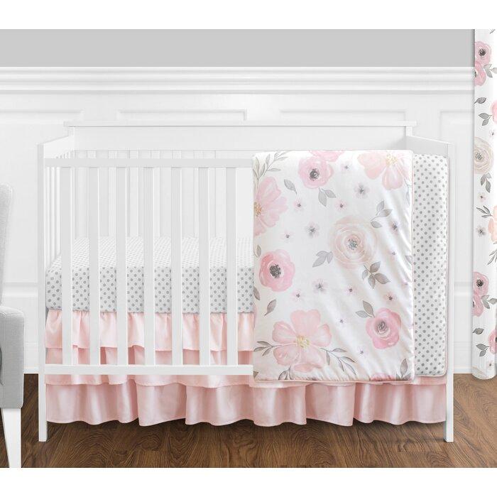 Watercolor Fl 4 Piece Crib Bedding Set