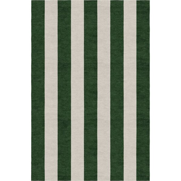 Burnell Hand-Woven Wool Dark Green/Silver Area Rug by Longshore Tides