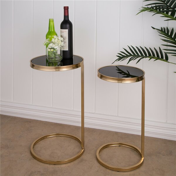 Sena Mirrored Round 2 Piece Nesting Tables by Mercer41