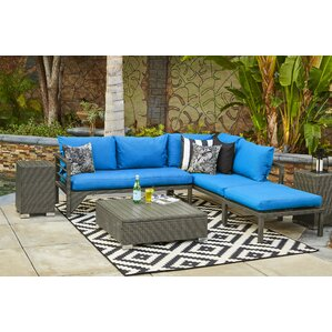 Ellie Indoor/Outdoor Woven Resin Rattan Sectional With Cushions (Set Of 2)