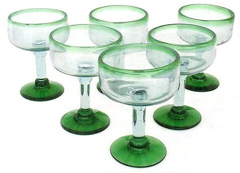 Javier and Efren Artisan Hand Blown Margarita Glass (Set of 6) by Novica