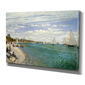 'Regatta at Sainte' by Claude Monet Painting Print on Wrapped Canvas by Wexford Home