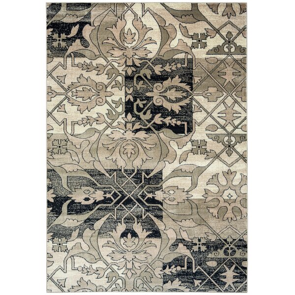 Culver Floral Gray/Black Area Rug by Threadbind