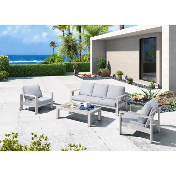Sinclair Outdoor 4 Piece Sofa Seating Group by Rosecliff Heights