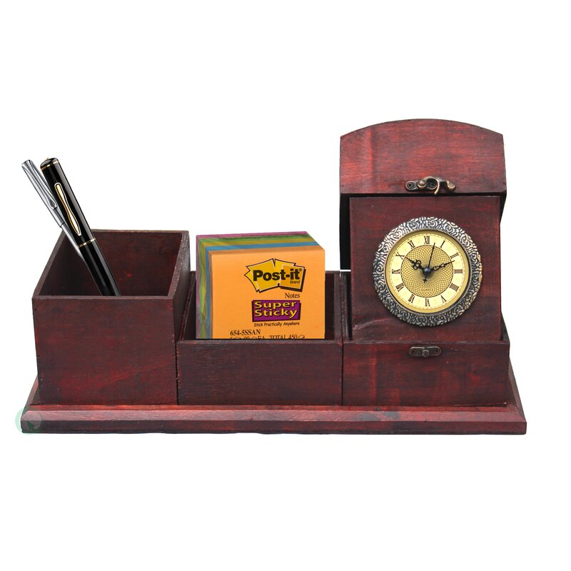 Antique Wood Desk Organizer - Quickway Imports Antique Wood Desk Organizer Wayfair
