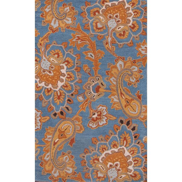 Wendy Paisley Floral Agra Indian Traditional Oriental Hand-Tufted Wool Blue/Orange Area Rug by Charlton Home
