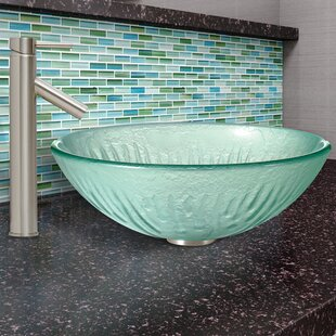Best Icicles Glass Circular Vessel Bathroom Sink with Faucet By VIGO