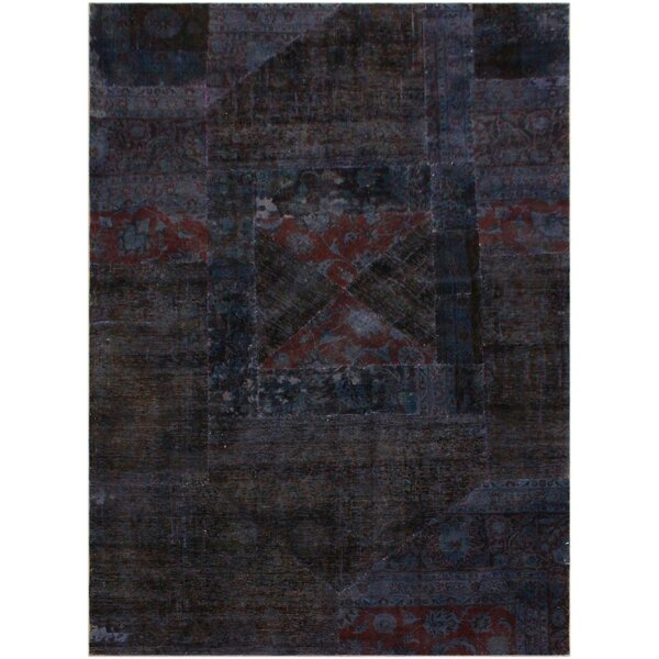 One-of-a-Kind Hanningt Patchwork Color Reform Hand-Knotted Wool Black/Purple Area Rug by Bloomsbury Market