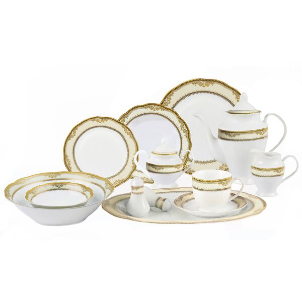 Isabella 57 Piece Dinnerware Set, Service for 8 by Lorren Home Trends