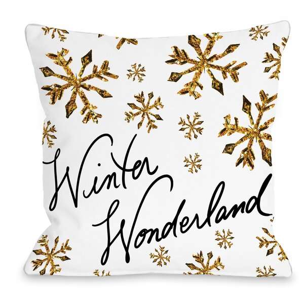Winter Wonderland Snowflakes Throw Pillow by One Bella Casa