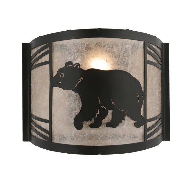 Greenbriar Oak 1-Light Happy Bear On The Loose Left Wall Sconce by Meyda Tiffany