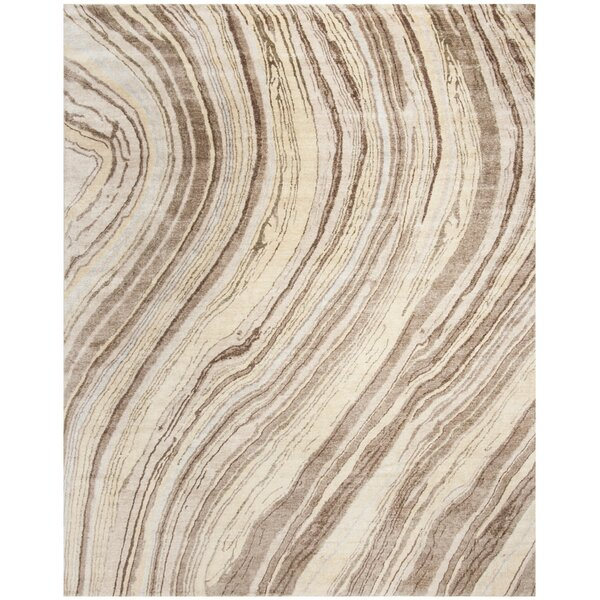 Harlesden Hand-Knotted Taupe Area Rug by Foundry Select