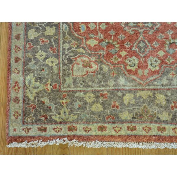 One-of-a-Kind Beason Antiqued Re-creation Hand-Knotted Red Wool Area Rug by Isabelline