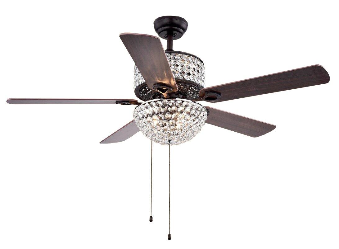 "warehouse of tiffany 52"" 5 blade laure crystal 6-light ceiling fan"