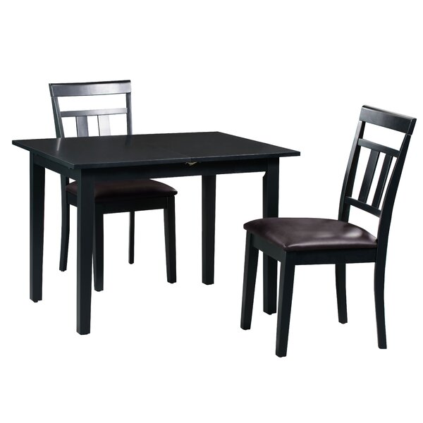 Fontinella 3 Piece Extendable Solid Wood Dining Set by Alcott Hill