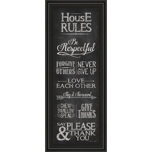 House Rules by Susan Ball Framed Textual Art by Classy Art Wholesalers