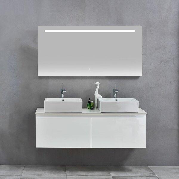 Glaspie 59 Double Wall-Mounted Double Bathroom Vanity Set with Mirror