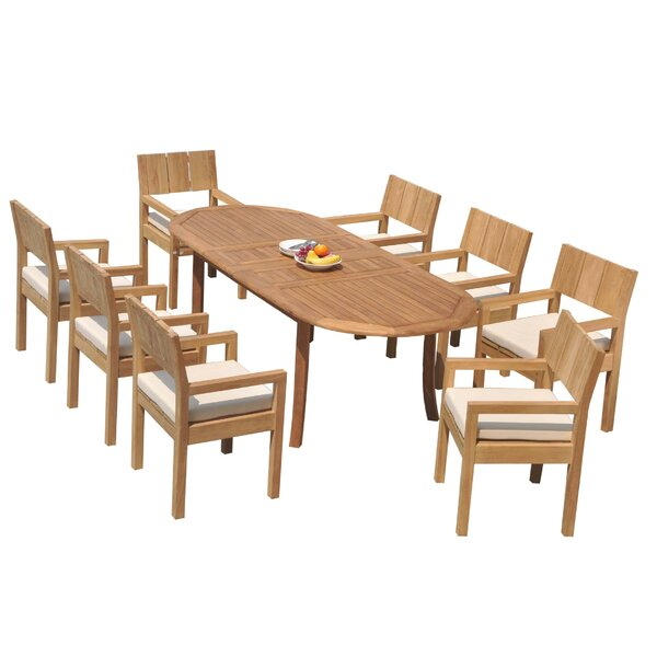 Rashad 9 Piece Teak Dining Set by Rosecliff Heights