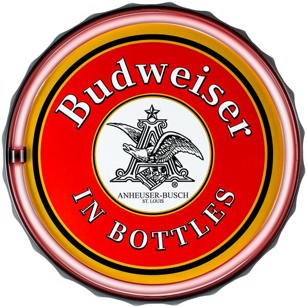 Budweiser Bottle Cap Shaped LED Marquee Sign by Crystal Art Gallery