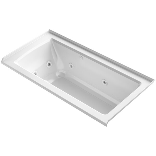 Archer Integral Flange Whirlpool and BubbleMassage™ Air Bath with Right-Hand Drain by Kohler