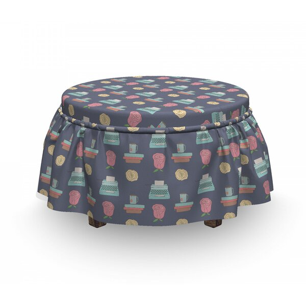 Home Décor Typewriter Tea Cup Rose Ottoman Slipcover (Set Of 2)