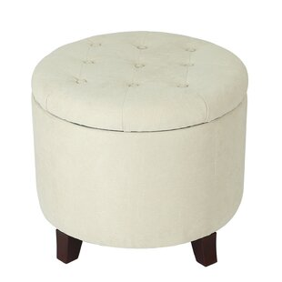 Vella Round Button Lift Top Tufted Storage Ottoman