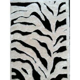 Barefield Zebra Print Design Hand-Woven Black/White Area Rug ByBloomsbury Market