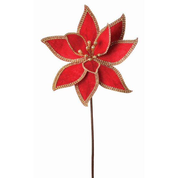 Jeweled Edge Regal Poinsettia Flower by The Holiday Aisle