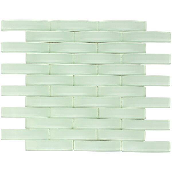 Arched Bridge 3D 1 x 4 Glass Mosaic Tile Clear Mint by Multile