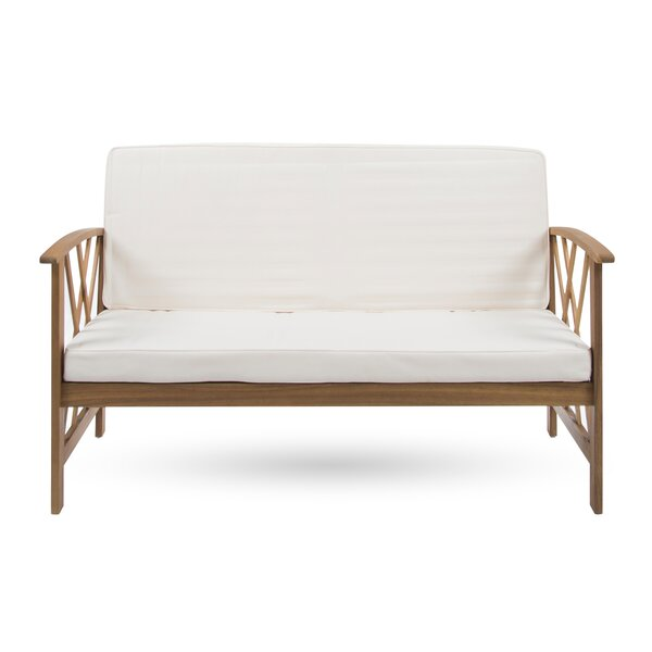 Bacote Outdoor Wooden Garden Bench with Cushion by Ivy Bronx