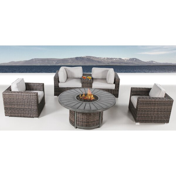 Turribridge 6 Piece Rattan Sectional Seating Group by Wrought Studio