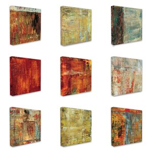 'Multi Color Abstract' 9 Piece Graphic Art on Canvas Set by World Menagerie
