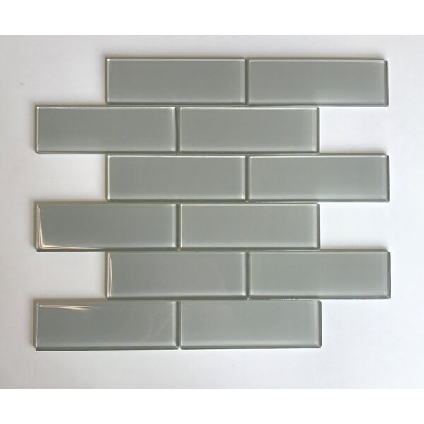 Granada Meshed Glass Subway 2 x 6 Glass Mosaic Tile in Sand by Vetromani