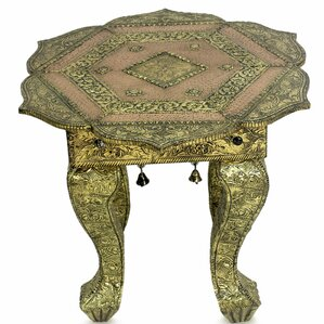 Golden Lotus Brass End Table by Novica