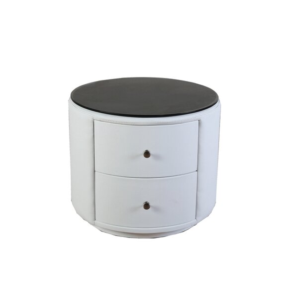 Carlie Modern Round 2 Drawer Nightstand by Orren Ellis