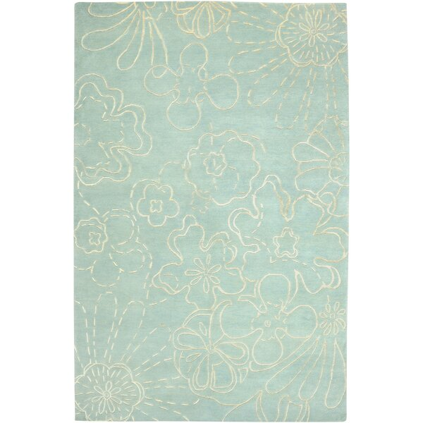 Avant Garde Hand-Knotted Wool Skyblue Floral Area Rug by Rizzy Rugs