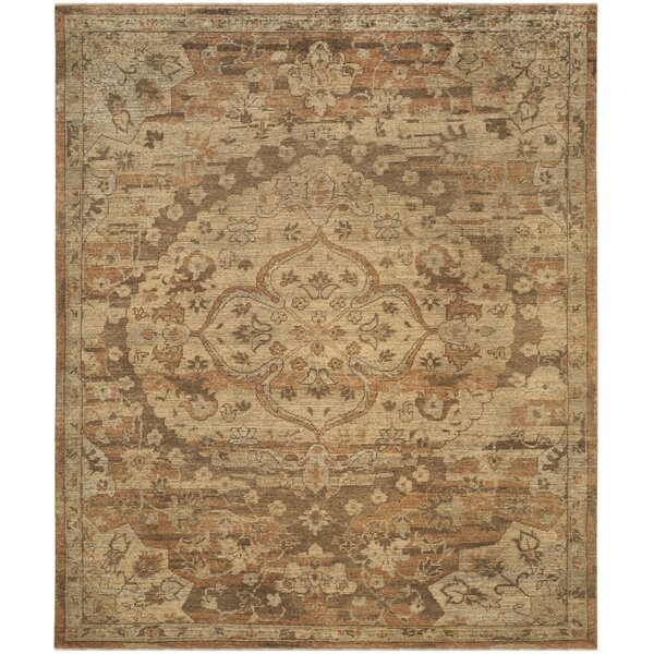 Kline Oriental Hand-Knotted Wool Gold Area Rug by Bungalow Rose