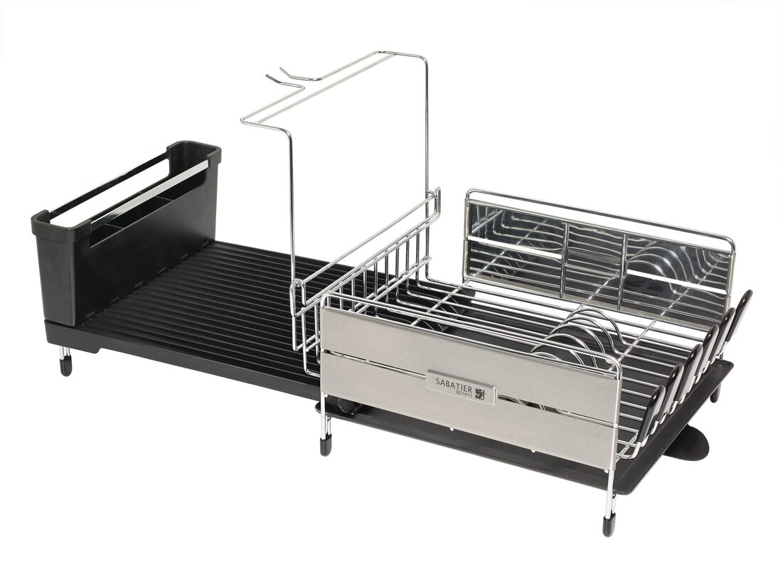 Expandable Compact Dish Rack With Wine Glass Holder