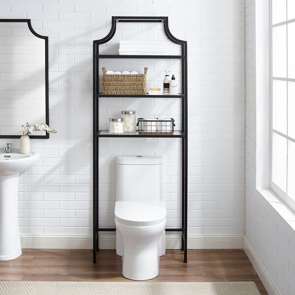 Glaucia 27.25 W x 73 H x 11 D Space Saver Oil-Rubbed Bronze/Gold Over-the-Toilet Storage