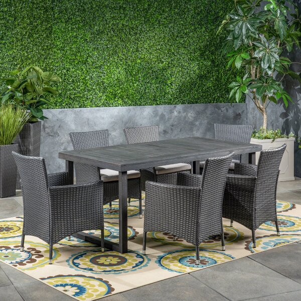Parkridge Outdoor 7 Piece Dining Set with Cushions by Wrought Studio