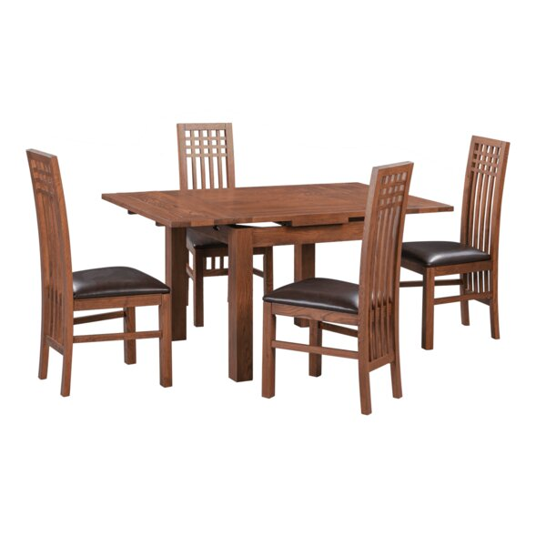 Koome 5 Piece Extendable Solid Wood Dining Set by Loon Peak Loon Peak