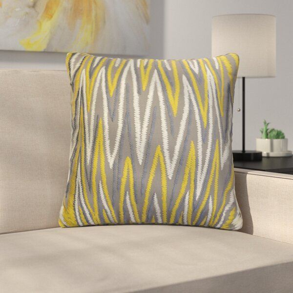 Orrell Chevron Embroidered Cotton Throw Pillow by Ebern Designs