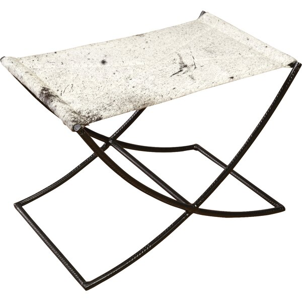 Cowhide and Rebar Accent Stool by AA Importing