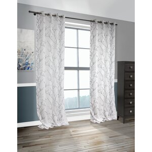 Lite Out Nature/Floral Sheer Grommet Curtain Panels (Set of 2)