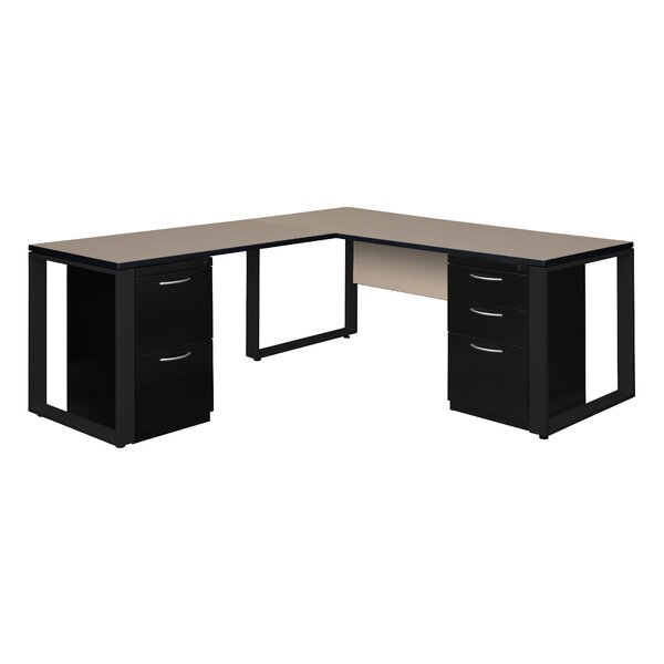 Mireya Double Laminate Pedestal L-Shape Executive Desk by Ebern Designs