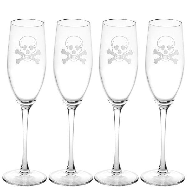 Skull & Cross Bones 8 Oz. Champagne Flute (Set of 4) by Rolf Glass