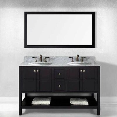 "beachcrest home caldwell 60"" double bathroom vanity set with"