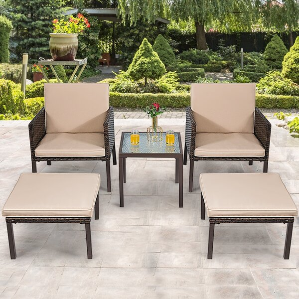 Dessa Patio 5 Piece Rattan Seating Group with Cushions by Latitude Run